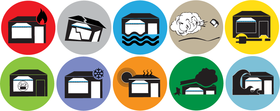 10 different disaster icons